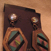 Sterling Silver & Inlay Vintage Earrings