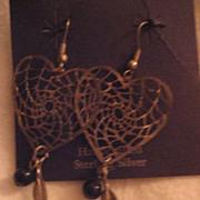 Sterling Silver Heart Dreamcatcher Earrings