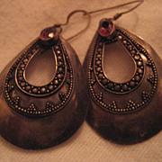 Sterling Silver & Garnet Vintage Earrings