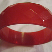 Bakelite Red Faceted Bracelet