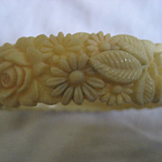 Celluloid Carved Floral Vintage Bracelet