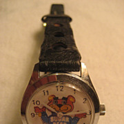 Sugar Bear Moving Eyes Vintage Wind Up Watch