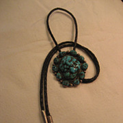 Kingman Turquoise & Sterling Vintage Bolo Tie