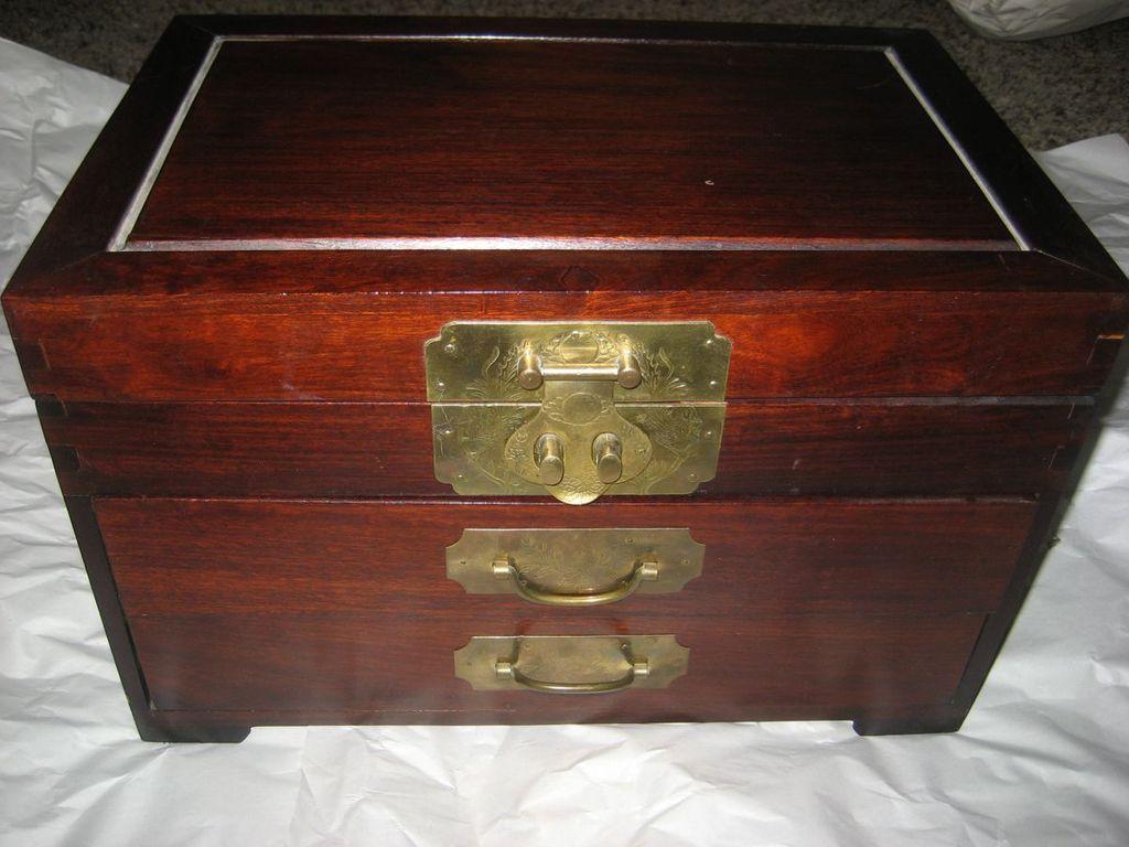 Beautiful Three Drawer Vintage Wooden Storage Box