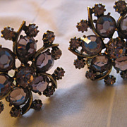 Rhinestone Vintage Clip Earrings