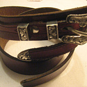 Sterling Silver Ranger Set With Tooled Leather Belt