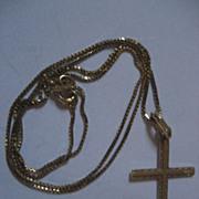 14 K Gold Cross & Necklace