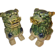 Foo Dogs Vintage Green Yellow Pottery