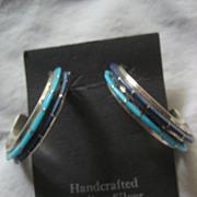 Sterling Silver Inlay Two Row Hoop Earrings