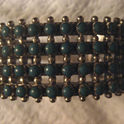 Sterling Silver Turquoise Four Row Cuff Bracelet