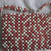 Beaded Handbag Marcus Bros. Vintage Pink & White