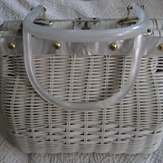 Lucite and White Wicker Simon Vintage Handbag