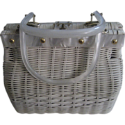 Lucite and White Wicker Simon Vintage Handbag