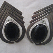 Sterling Silve & Onyx Vintage Clip Earrings