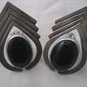 Sterling Silve & Onyx Vintage Clip Earrings