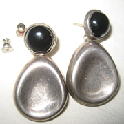 Sterling Silver & Onyx Vintage Earrings