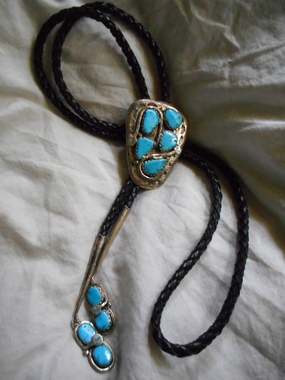 Sterling Silver Amp Turquoise Vintage Zuni Bolo Tie From
