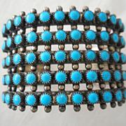 Sterling Silver Five Row Turquoise Vintage Bracelet
