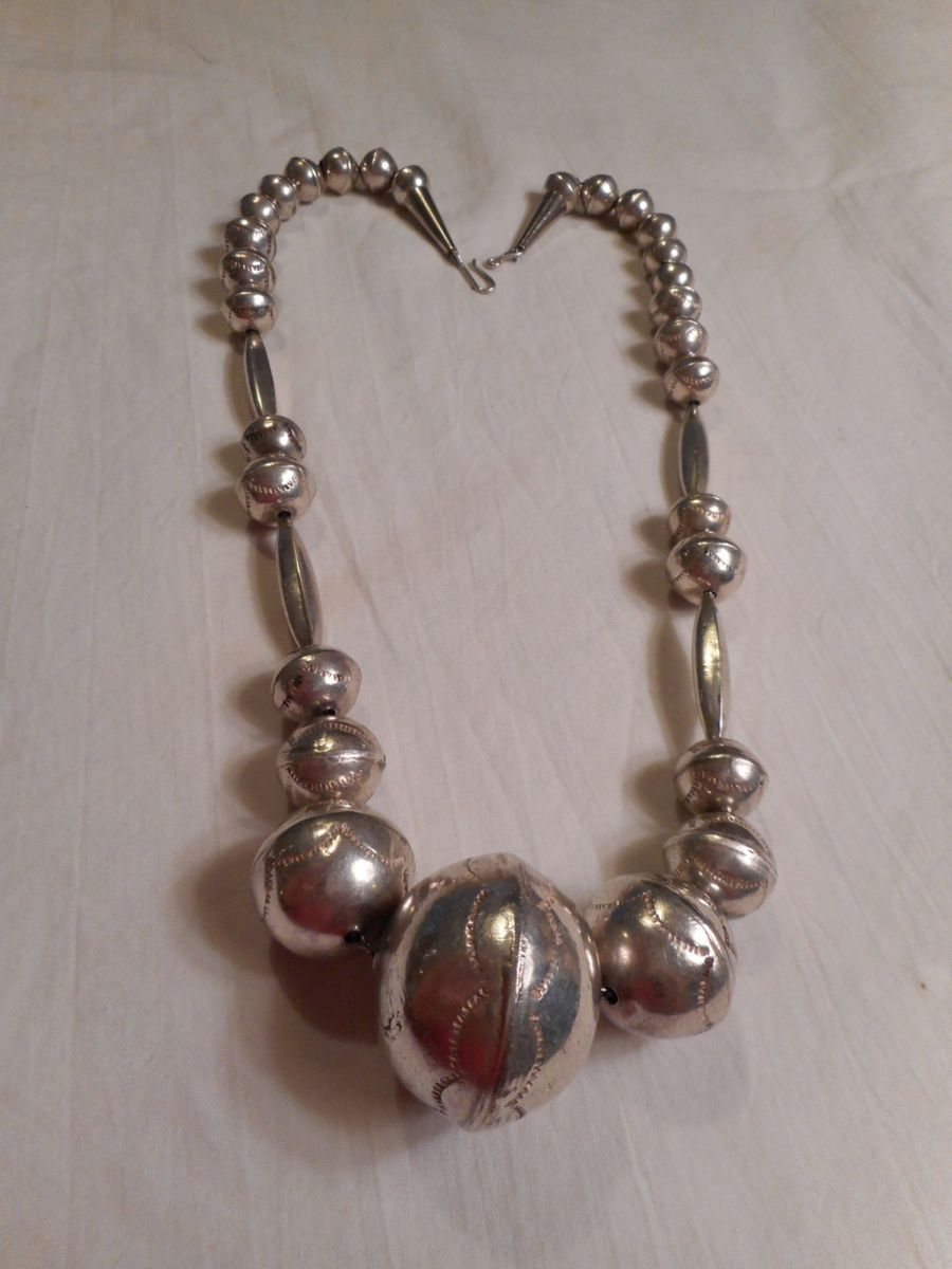 Sterling Silver Old Pawn Handmade Beaded Necklace From