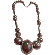 Sterling Silver Old Pawn Handmade Beaded Necklace