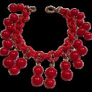 Bakelite Vintage Charm Bracelet on Celluloid Chain - Red Tag Sale Item