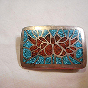 Sterling Silver Vintage Turquoise Coral Belt Buckle