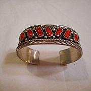 Sterling Silver Coral Vintage Bracelet