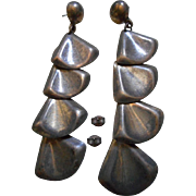 Sterling Silver Long Dangle Vintage Earrings