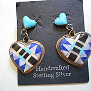 Sterling Silver & Inlay Heart Vintage Earrings