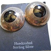 Sterling Silver & Jet Vintage Earrings