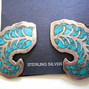 Sterling Silver & Chip Inlay Vintage Earrings