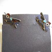 Sterling Silver Inlay Roadrunner  Vintage Earrings