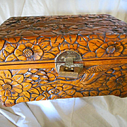 Wooden Hand Carved Large Vintage Box