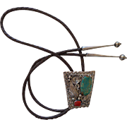 Sterling Silver & Turquoise Carol Vintage Bolo Tie