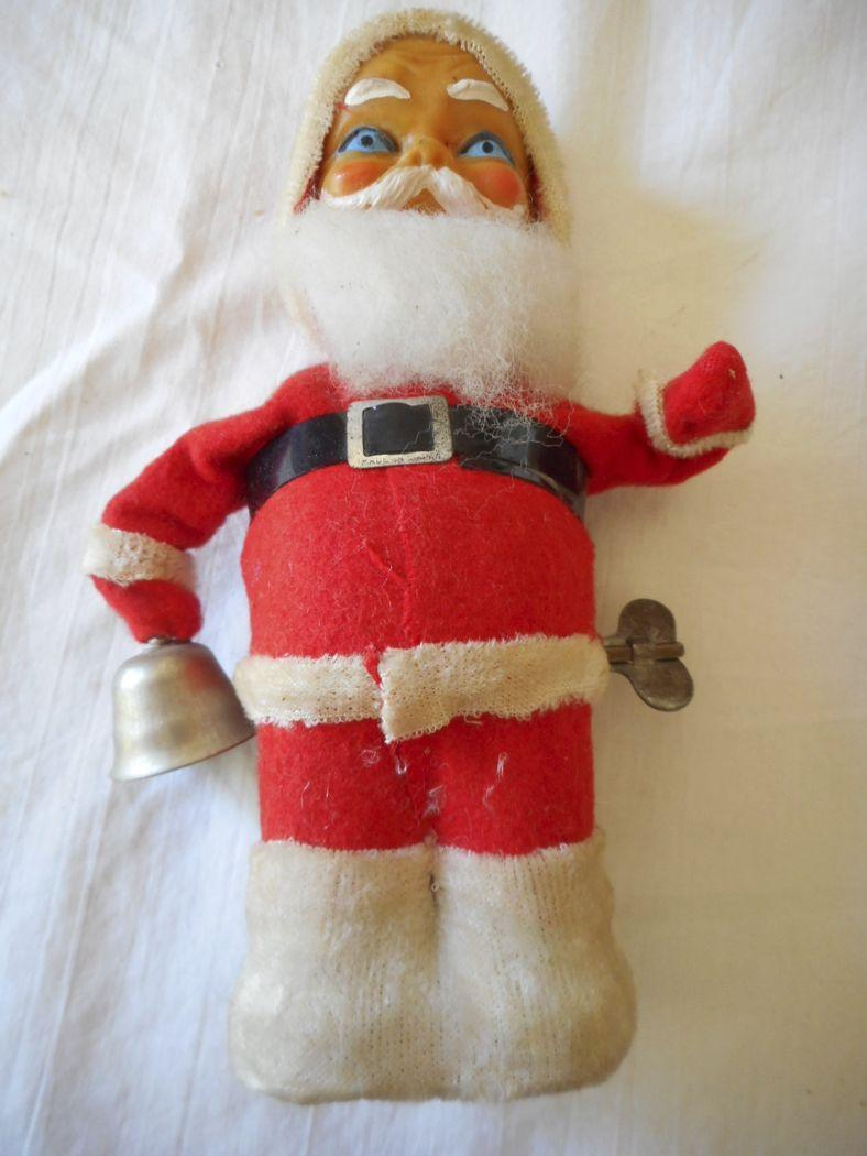 Toys From Santa : Santa bell ringing wind up vintage toy from
