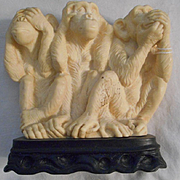 Hear No Evil See No Evil Vintage Ceramic Monkeys