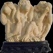 Hear No Evil See No Evil Vintage Ceramic Monkeys