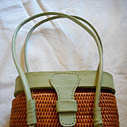 Leather & Wicker Vintage Handbag