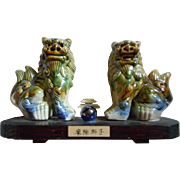 Foo Dog Pair of Majolica Ceramic