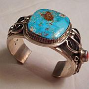 Sterling Silver Coral & Turquoise Vintage Bracelet