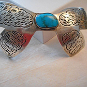 Sterling Silver Turquoise Vintage Hair Clip