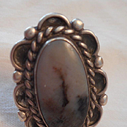 Petrified Wood & Sterling Vintage Ring