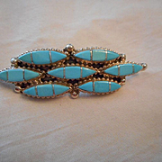Sterling Silver Turquoise Channel Inlay Pin & Pendant