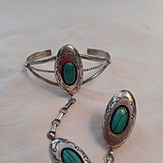 Sterling Silver Malachite Slave Bracelet & RIng