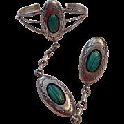 Sterling Silver Malachite Slave Bracelet & RIng