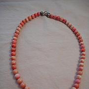 Sterling Silver & Angel Coral Vintage Necklace