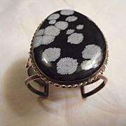 Sterling Silver & Snowflake Obsidian Vintage Bracelet