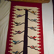 Chimayo Wool Vintage Tree Of Life Framed Rug