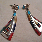 Sterling Silver Inlay Vintage Earrings