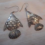 Sterling Silver Vintage Fish Earrings